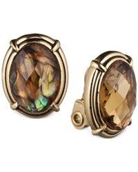 Jones New York - Metallic Gold-Tone Light Topaz Bead Button Clip-On Earrings - Lyst