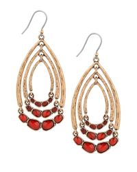 Lucky Brand | Red Wishbone Gem Swing Earrings | Lyst