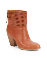 Nine West - Brown Hippy Chic Laser-cut Leather Ankle Boots - Lyst