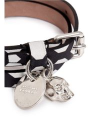 Alexander McQueen | Multicolor Double Wrap Pattern Leather Bracelet | Lyst