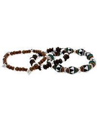 Steve Madden | Metallic Silver-Tone Geometric Wood Bead Stretch Bracelet Set | Lyst