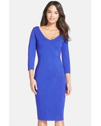Felicity & Coco | Blue Midi Sheath Dress | Lyst