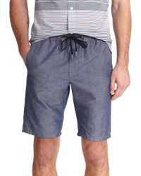 VINCE | Blue Chambray Drawstring Shorts for Men | Lyst
