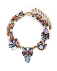 Erickson Beamon | Multicolor 'ripple Cascade' Stud Lace Swarovski Crystal Necklace | Lyst