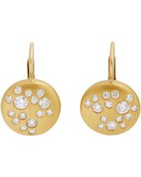 Linda Lee Johnson - Metallic Diamond & Gold moon Phase Drop Earrings - Lyst