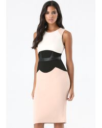 Bebe - Brown Petite Corset Midi Dress - Lyst