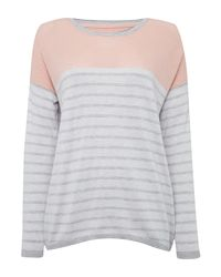 Linea Weekend | Pink Stripe Crew Perforated Jumper | Lyst