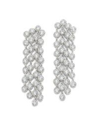 Kenneth Jay Lane - Metallic Round Cz Waterfall Earrings - Clear - Lyst