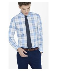Express | Blue Fitted Plaid Dress Shirt for Men | Lyst