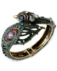 Betsey Johnson - Brass-Tone Multicolor Peacock Hinged Bangle Bracelet - Lyst