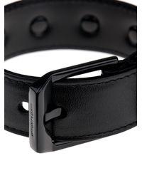 Saint Laurent - Black De Force Leather Cuff for Men - Lyst