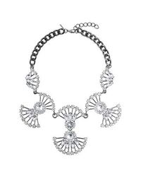 TOPSHOP | Metallic Petal Rhinestone Necklace | Lyst