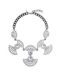 TOPSHOP - Metallic Petal Rhinestone Necklace - Lyst