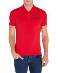EA7 - Red Logo Polo Regular Fit Polo Shirt for Men - Lyst