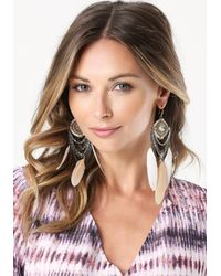 Bebe | Metallic Chain & Feather Earrings | Lyst
