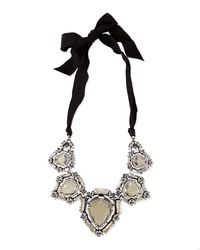 Lanvin | Metallic Crystal Bib Necklace With Ribbons | Lyst