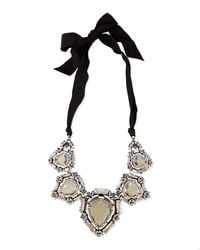 Lanvin - Metallic Crystal Bib Necklace With Ribbons - Lyst