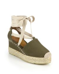 Pink Pony - Green Uma Canvas Espadrille Wedge Sandals - Lyst