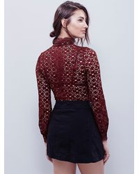 Free People | Brown High Neck Julie Layering Top | Lyst