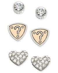 Guess | Metallic Two-tone Pavé Stud Earring Set | Lyst