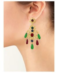 Kenneth Jay Lane | Multicolor Multi-color Filigree Drop Clip Earring | Lyst