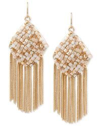 Kenneth Cole | Metallic Gold-tone Woven Fringe Earrings | Lyst