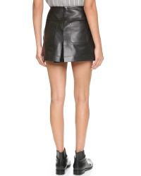 T By Alexander Wang - Black Leather A Line Skirt - Lyst
