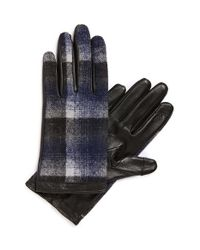 Halogen | Blue Plaid Tech Gloves | Lyst
