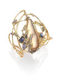 Alexis Bittar - Metallic Imperial Semi-Precious Multi-Stone, Lucite & Crystal Lace Cuff Bracelet - Lyst
