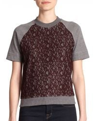 Carven - Gray Lace-front Short-sleeve Sweatshirt - Lyst