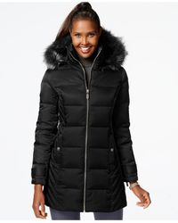 Kenneth Cole - Black Faux-fur-trim Down Puffer Coat - Lyst