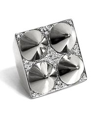 Noir Jewelry - Metallic Four Cone Pyramid Ring - Lyst