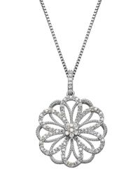 Lord & Taylor | Metallic 8mm White Pearl, Diamond And Sterling Silver Floral Pendant Necklace | Lyst