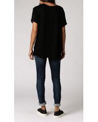 Anine Bing - Black Raw Hem T-shirt - Lyst