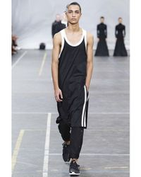 Y-3 | Black Long Cotton Jersey Tank Top for Men | Lyst