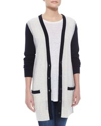 Vince - Blue Two-tone Knit Cashmere Cardigan - Lyst