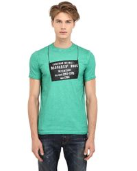 DSquared² - Green Printed & Faded Slim Fit Cotton T-Shirt for Men - Lyst