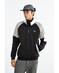 Stussy | Black Half-zip Funnel Neck Sweatshirt for Men | Lyst