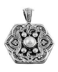 Konstantino | Metallic Silver Scrollwork Pearl Pendant Enhancer | Lyst