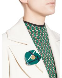 Marni | Green Bi-colored, Flower Brooch In Resin | Lyst