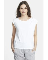 Eileen Fisher | White Ballet Neck Jersey Cap Sleeve Top | Lyst