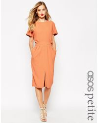 ASOS - Brown Petite Wiggle Dress In Crepe With Open Wrap Back And D-ring - Lyst