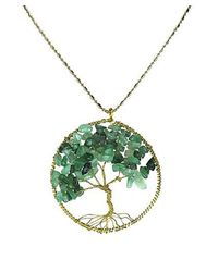 Aeravida - Green Indian Jade Stone Eternal Tree Of Life Brass Long Necklace - Lyst