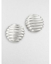 John Hardy | Metallic Sterling Silver Button Earrings | Lyst