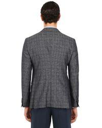 Giorgio Armani   Gray Silk Cotton Blend Checked Jacket for Men   Lyst