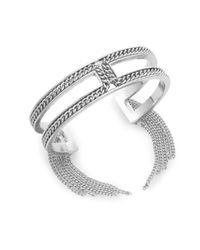 BCBGeneration | Metallic Snake Charmer Small Fringe Cuff Bracelet/silvertone | Lyst
