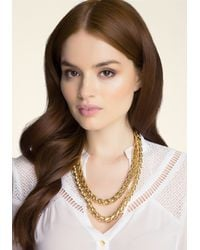 Bebe - Metallic Double Row Chain Necklace - Lyst