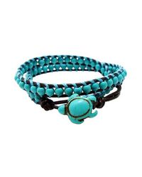 Aeravida - Blue Ocean Sea Turtle Reconstructed Turquoise Double Wrap Leather Bracelet - Lyst