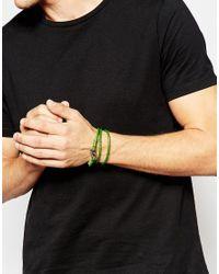 Seven London | Green Wraparound Plaited Bracelet for Men | Lyst