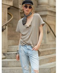 Free People | Gray We The Free Weekender Henley | Lyst